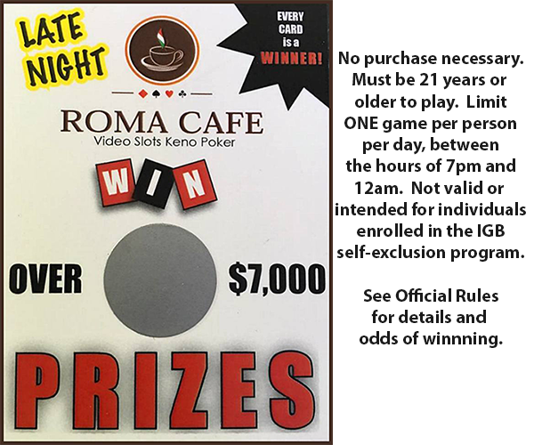 Roma Cafe Late Night Coupon